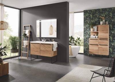 Salle de bain bois métal
